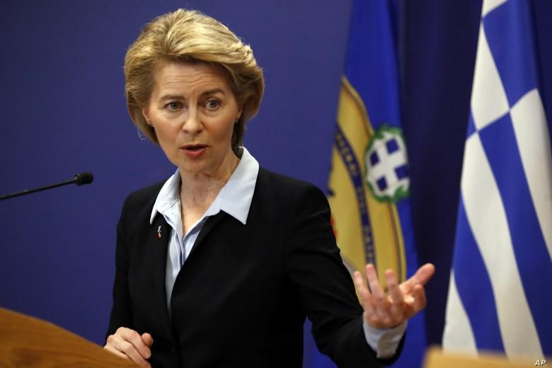 FILE - German Minister of Defense Ursula von der Leyen speaks in Athens, March 5, 2019.