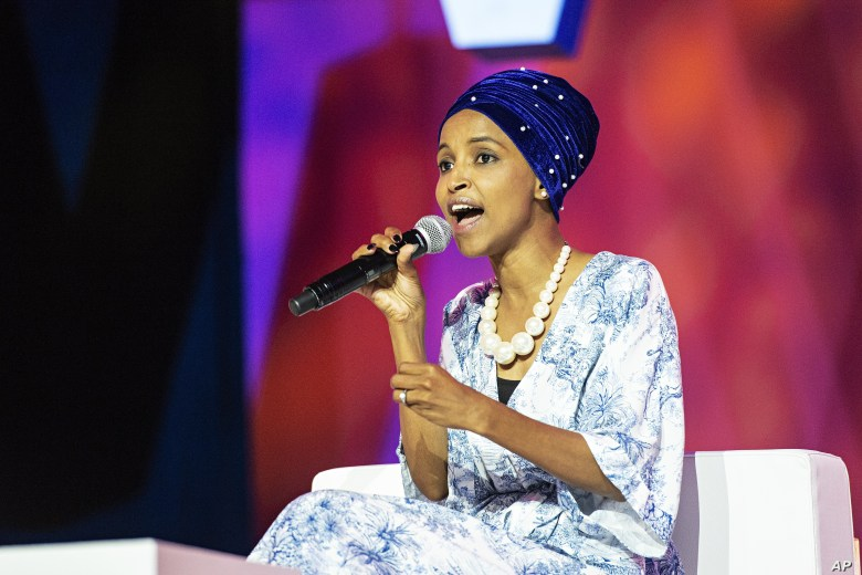FILE - Rep. Ilhan Omar, D-Minn., speaks at the 2019 Essence Festival at the Ernest N. Morial Convention Center in New Orleans, July 6, 2019.