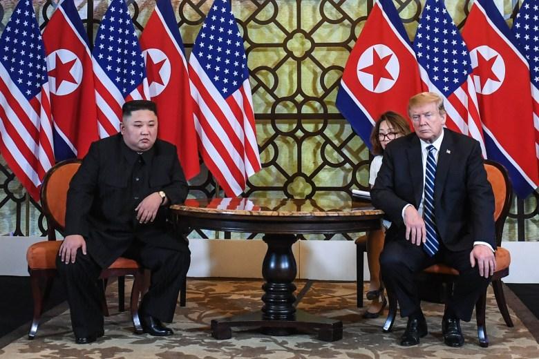 U.S. President Donald Trump and North Korea's leader Kim Jong Un meet during the second U.S.-North Korea summit at the Sofitel Legend Metropole hotel in Hanoi, Feb. 28, 2019.