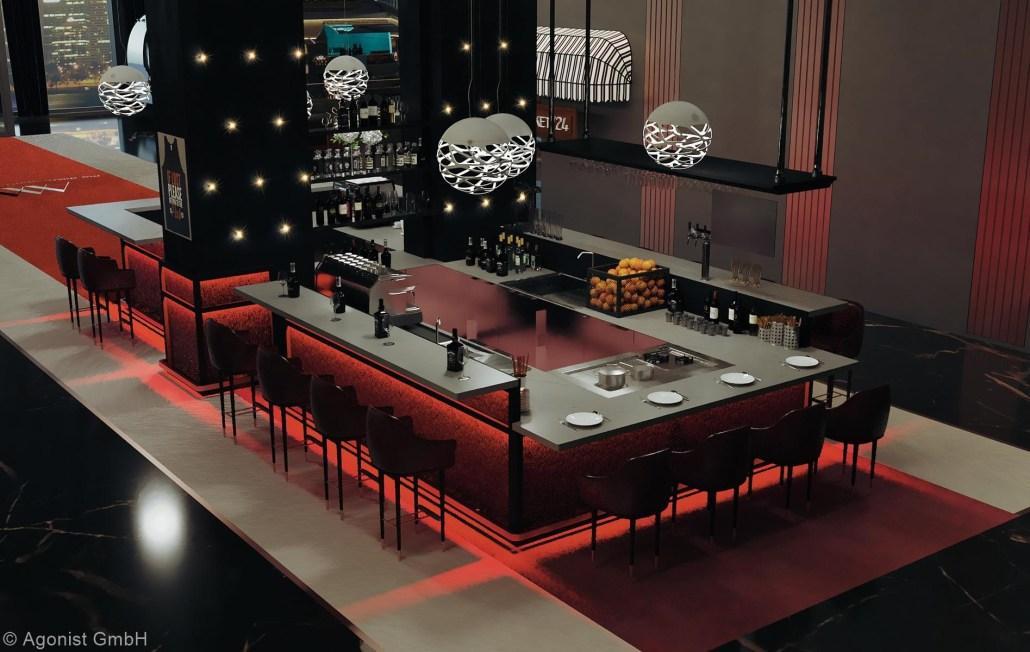 Design Bar im MASEVEN mit Sitzmöglichkeiten