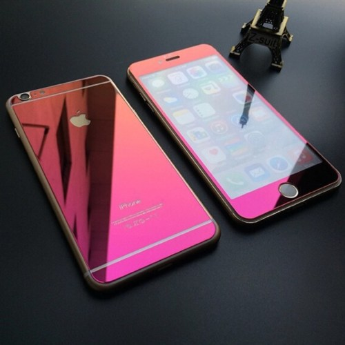 reflective tempered glass screen protector pink