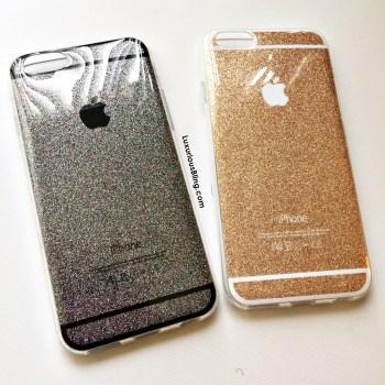 glitter iphone case gold black