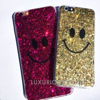 GOLD and pink  Sparkly Glitter Smiley Face iPhone 6 Case