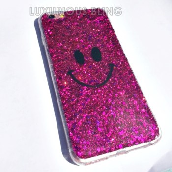 PINK Sparkly Glitter Smiley Face iPhone 6 Case 2