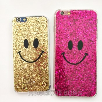 PINK and GOLD Sparkly Glitter Smiley Face iPhone 6 Case