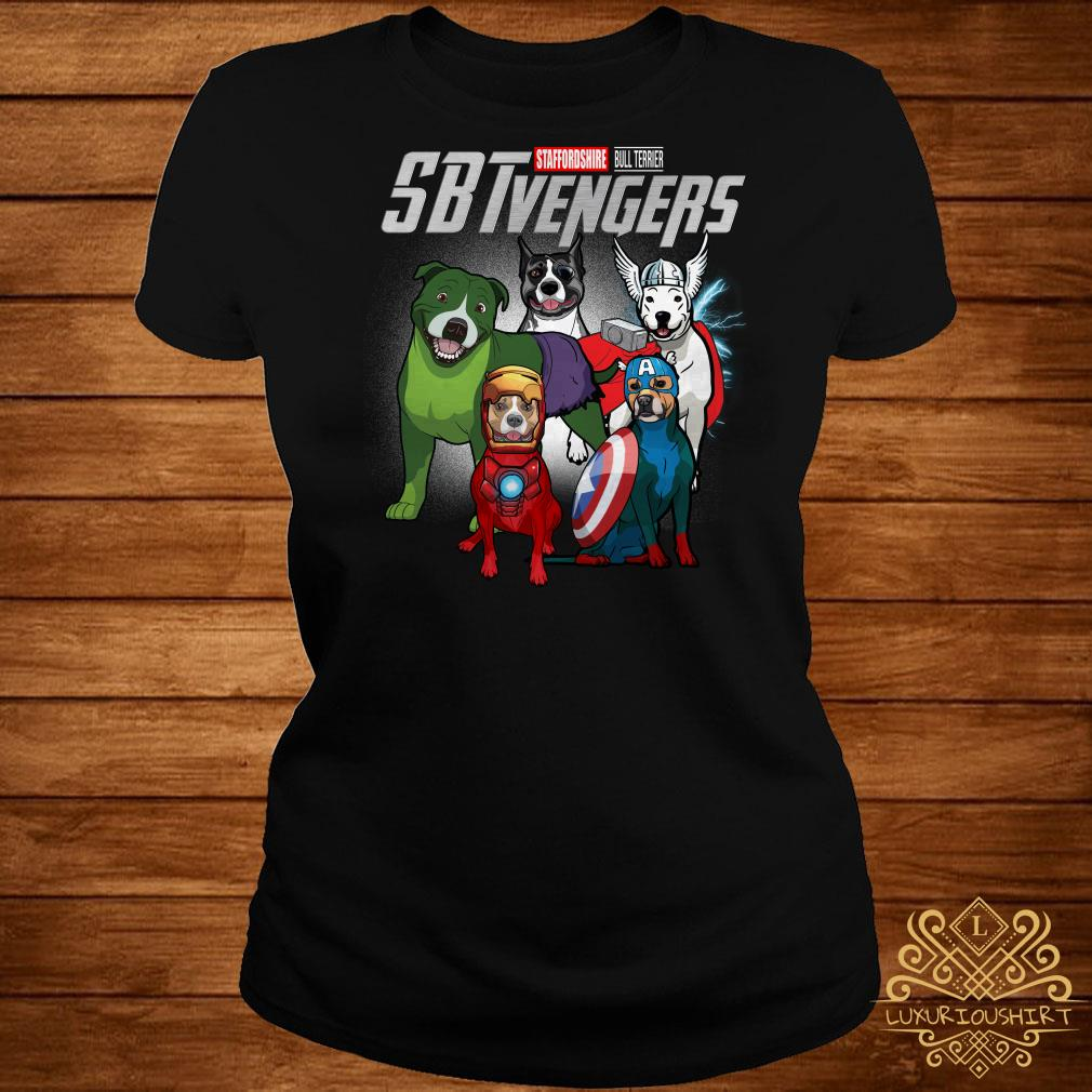Marvel Avengers Staffordshire Bull Terrier SBTvengers ladies tee