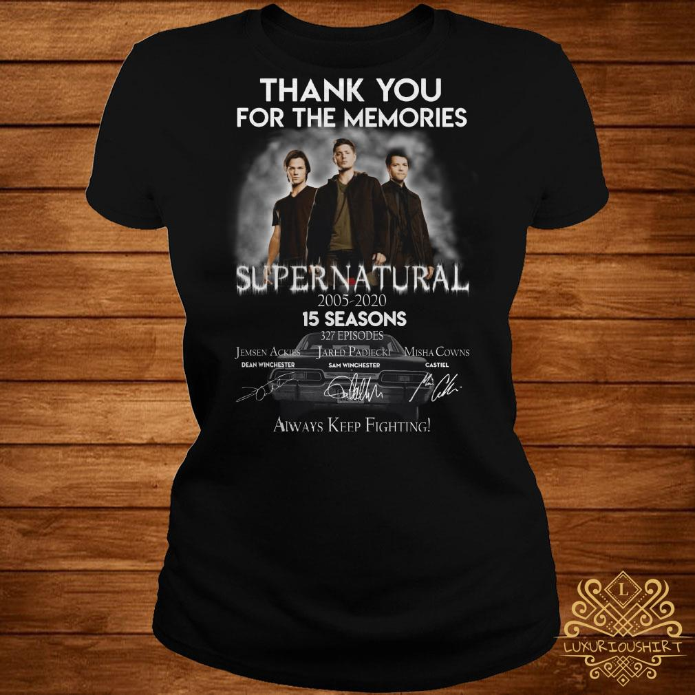 Thank you for the memories supernatural 15 seasons all signature ladies tee