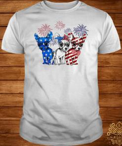 Chihuahua blue white red American flag shirt