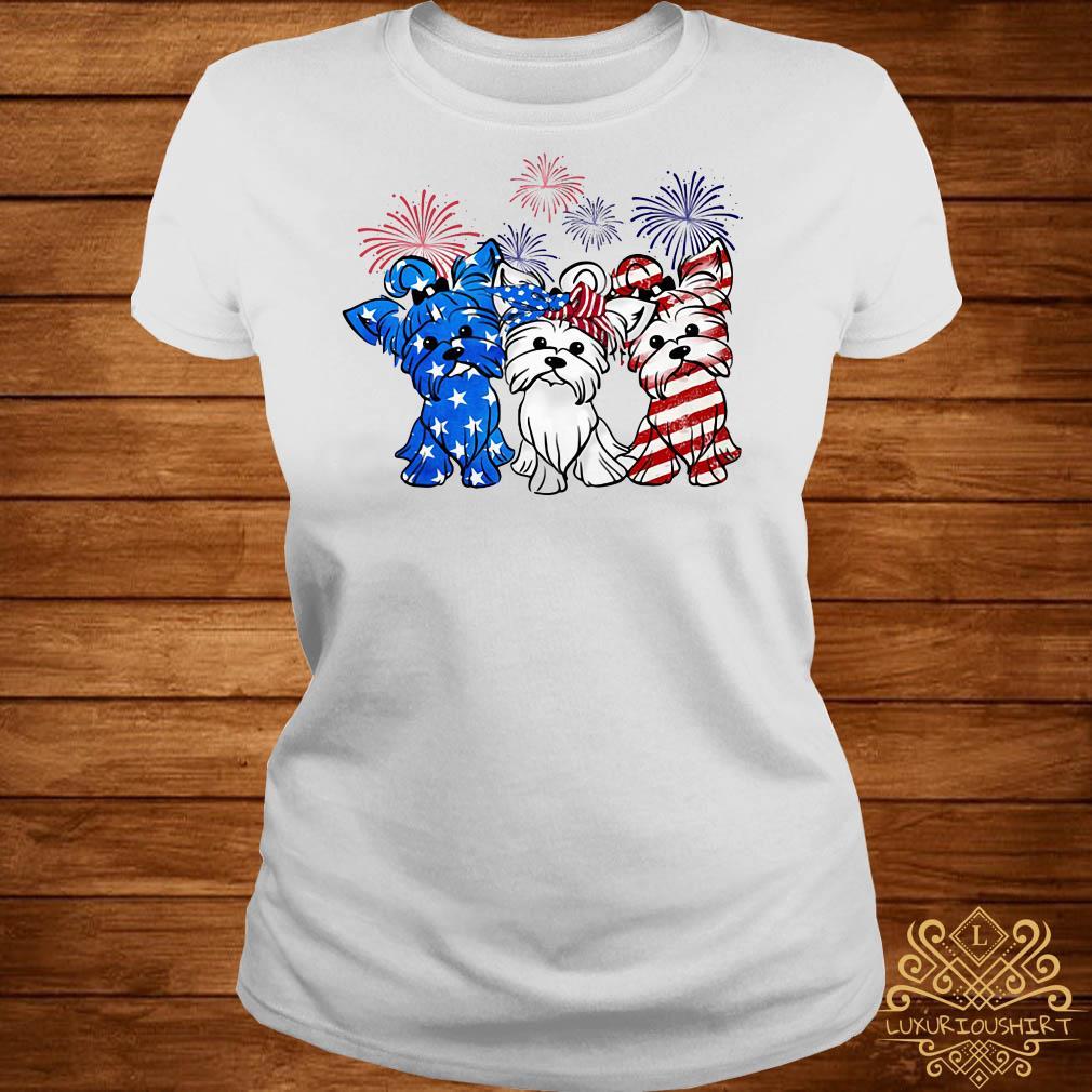 Firework Yorkshire terrier American flag ladies tee