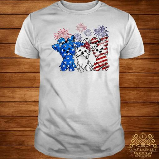 Firework Yorkshire terrier American flag shirt