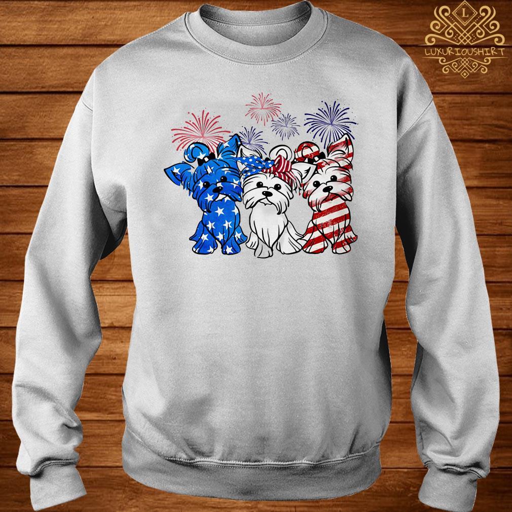 Firework Yorkshire terrier American flag sweater