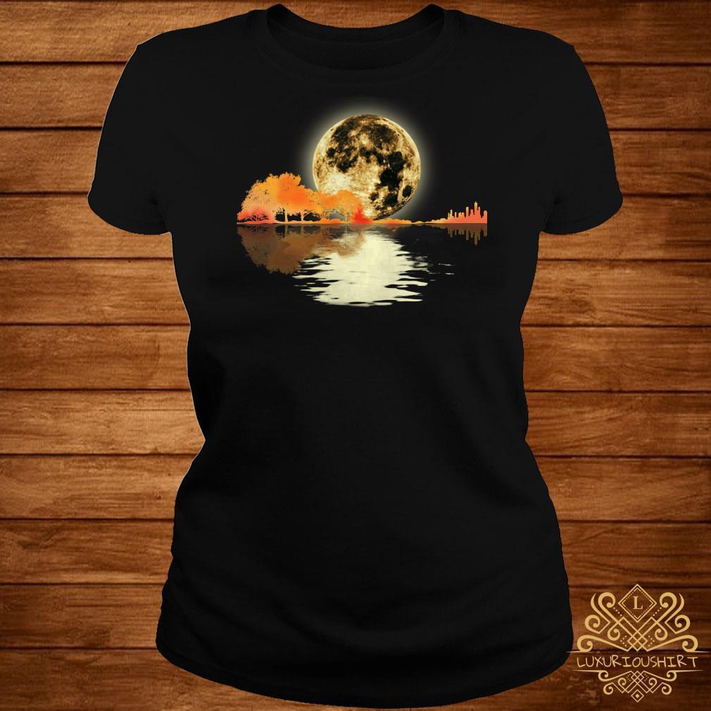 Guitar and moon I love guitar lake shadow ladies tee