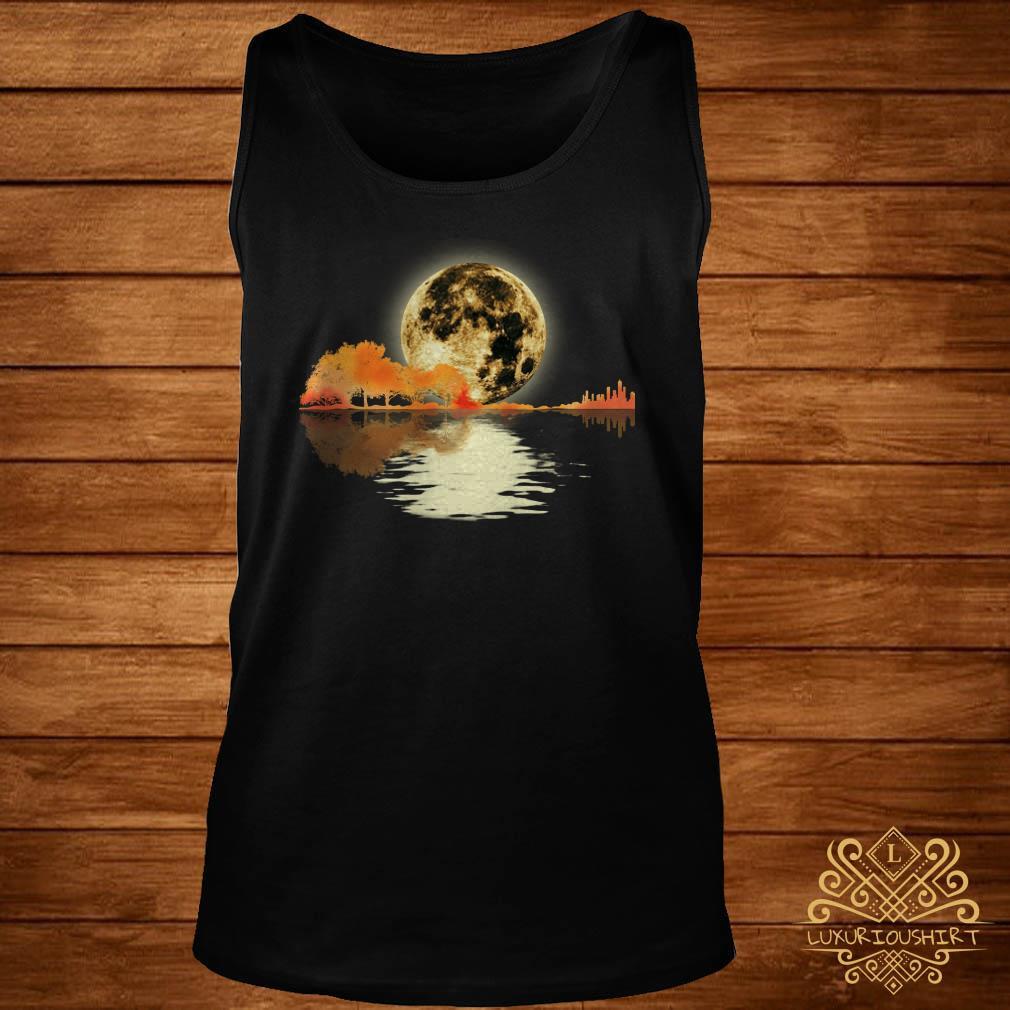 Guitar and moon I love guitar lake shadow tank-top