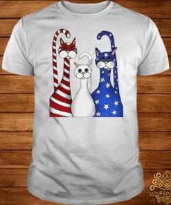 Independence day 4th of July Cat beauty America Flag shirt