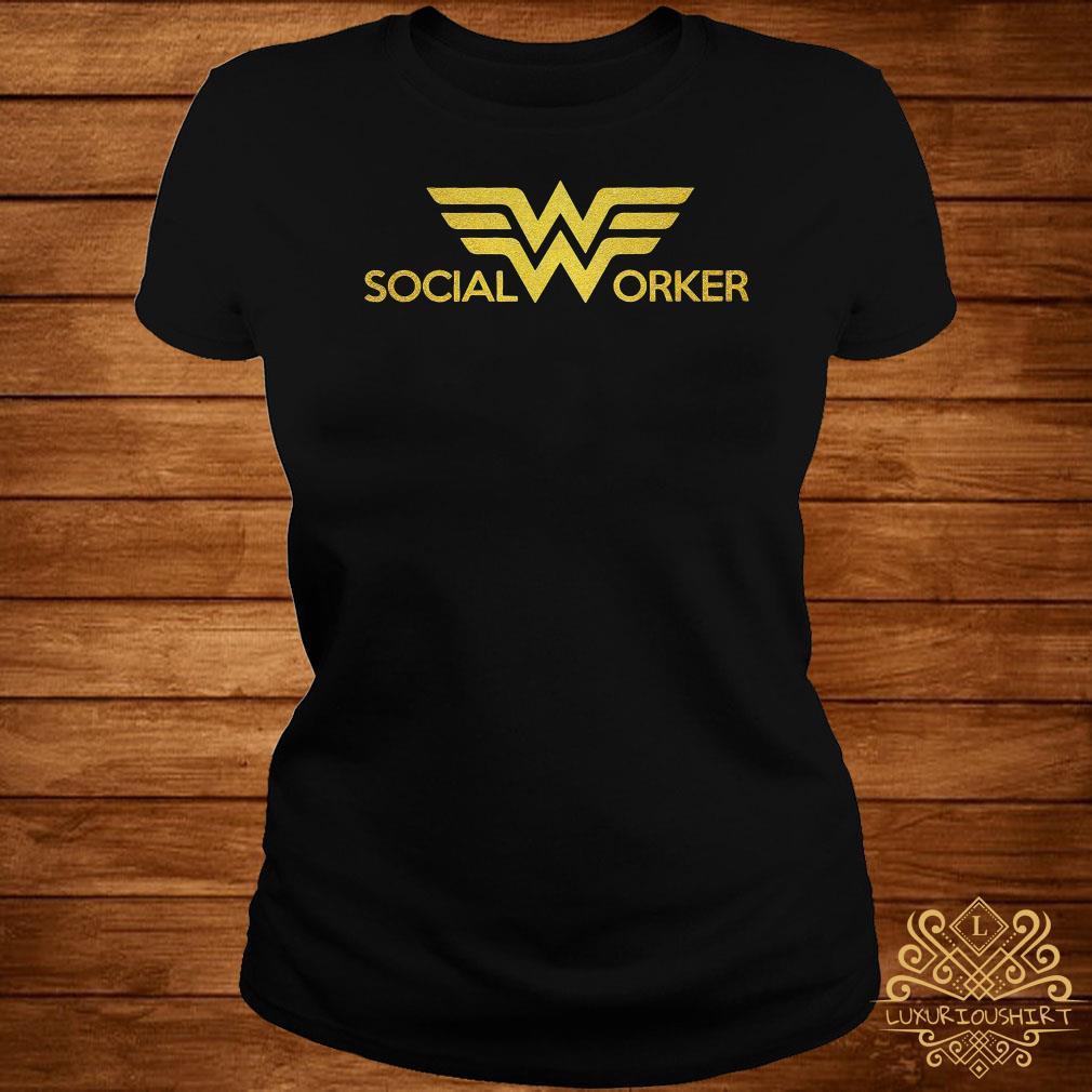 Social worker Wonder Woman logo ladies tee