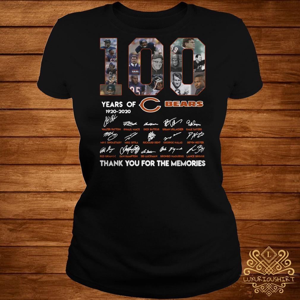 f8e4d18d 100 years of 1920-2020 Chicago Bears signatures shirt
