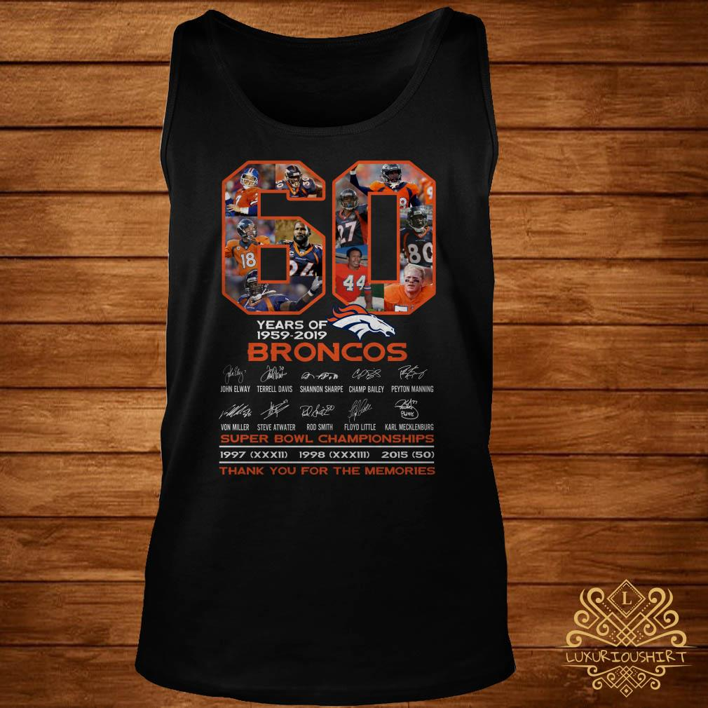 60 years of 1959-2019 Broncos super bowl Championships thank you for the memories tank-top