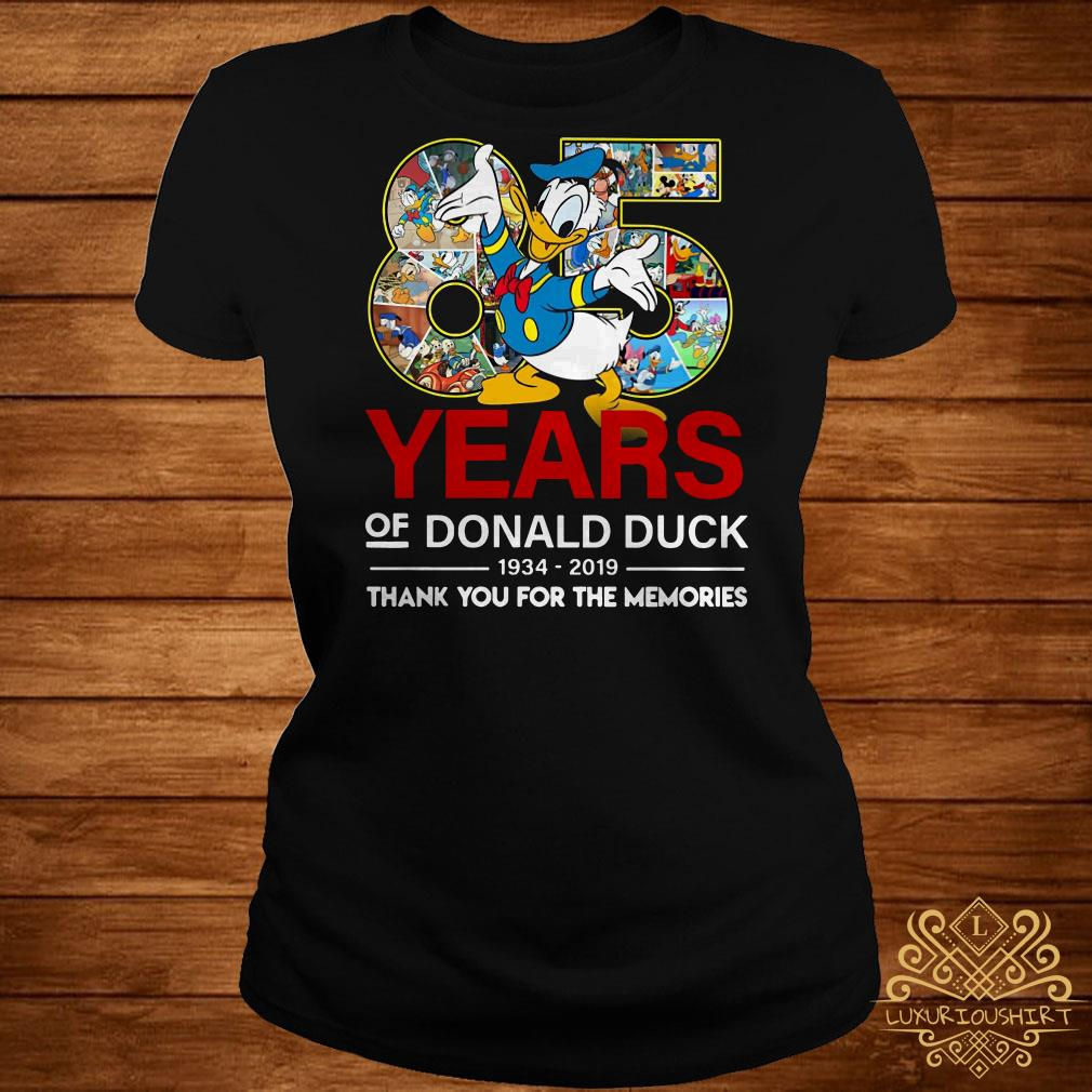 85 years of Donald duck 1934-2019 thank you for the memories ladies tee