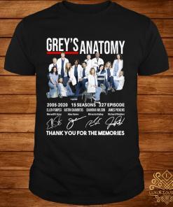 Grey's Anatomy 15 seasons 327 episode thank you for memories shirt