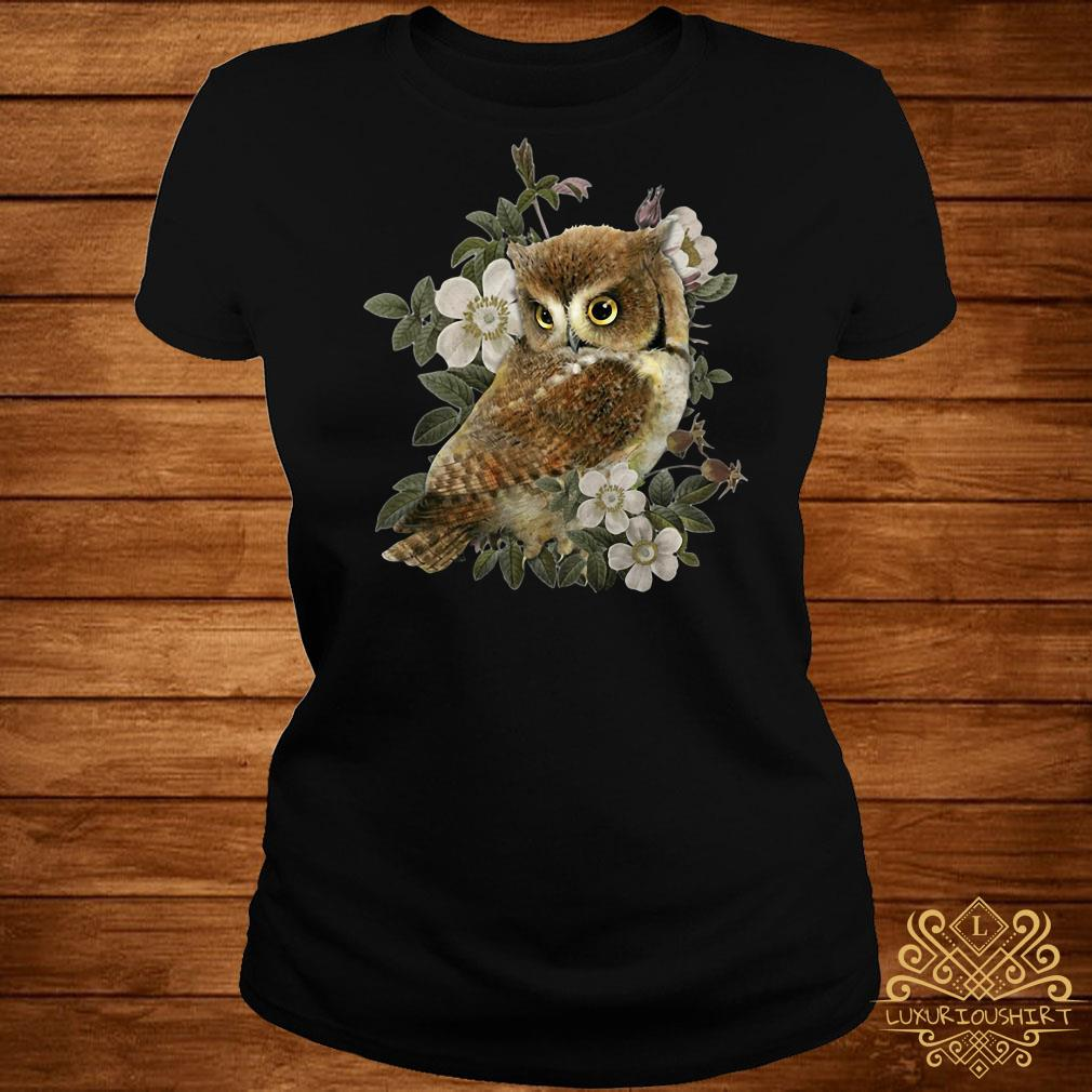 The Owl with flower ladies tee