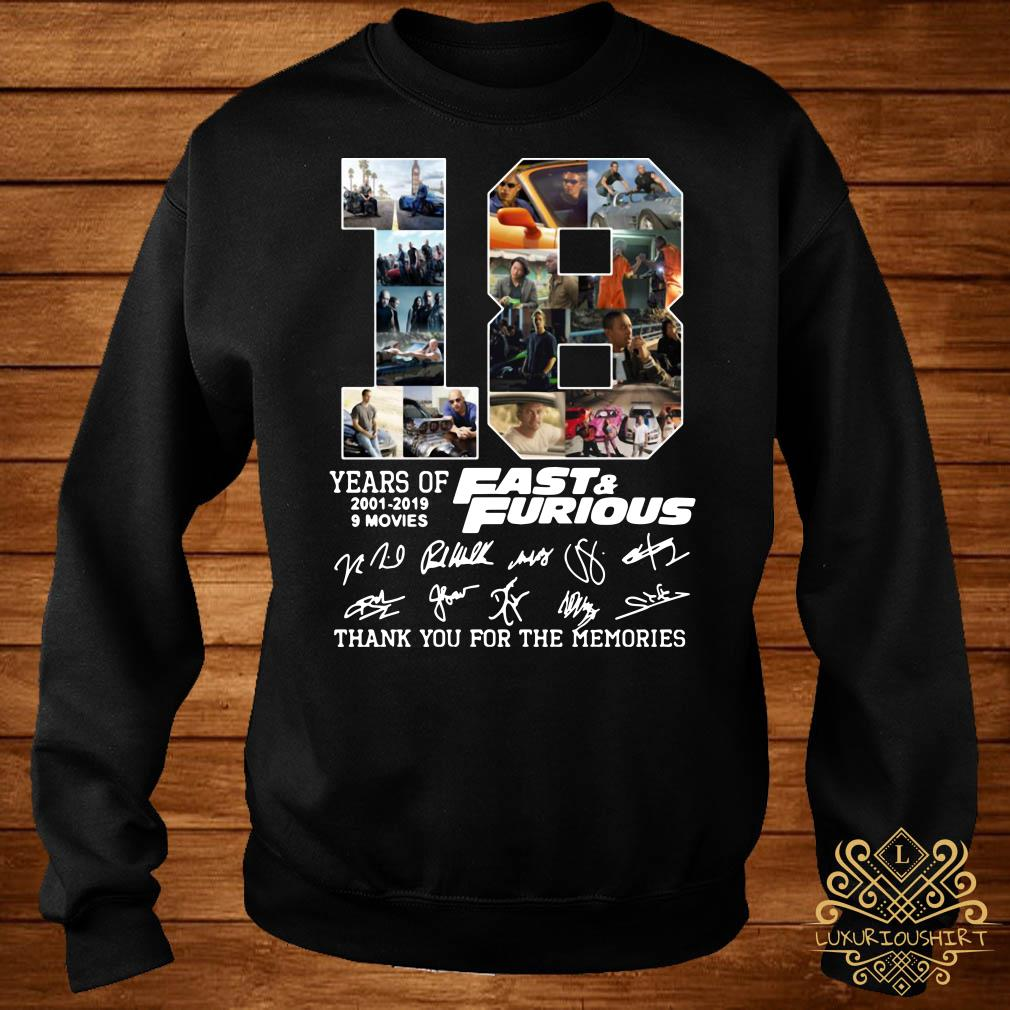 18 years of Fast and Furious 2001-2019 signature sweater