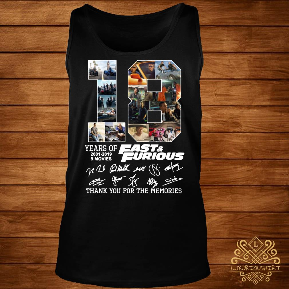 18 years of Fast and Furious 2001-2019 signature tank-top