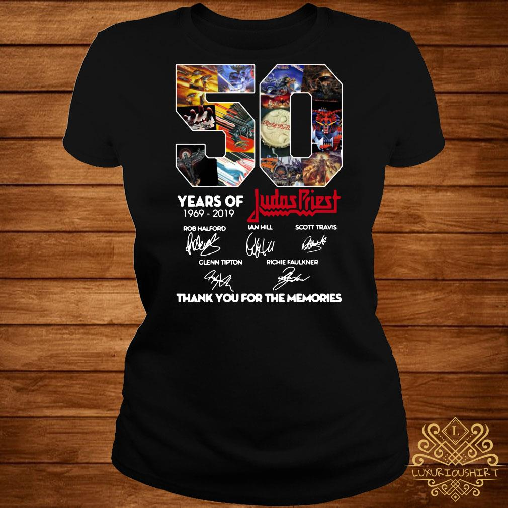 50 Years of Judas Priest 1969-2019 thank you for the memories signature ladies tee