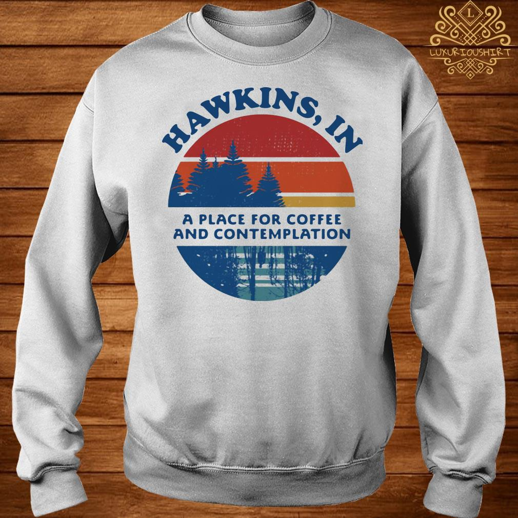 Hawkins in a place for coffee and contemplation sweater