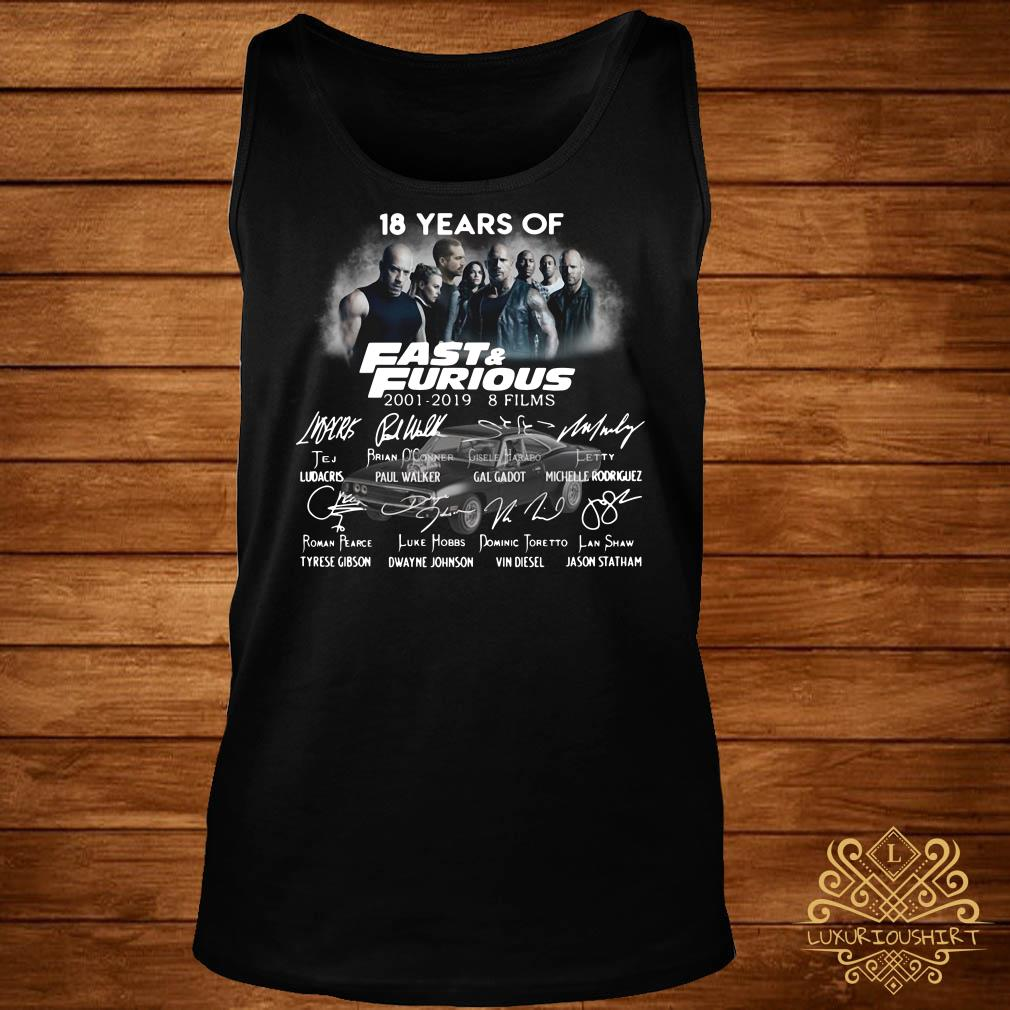 18 Years of Fast Furious 2001-2019 8 films tank-top