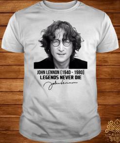John Lennon 1940 1980 legends never die signature shirtJohn Lennon 1940 1980 legends never die signature shirt