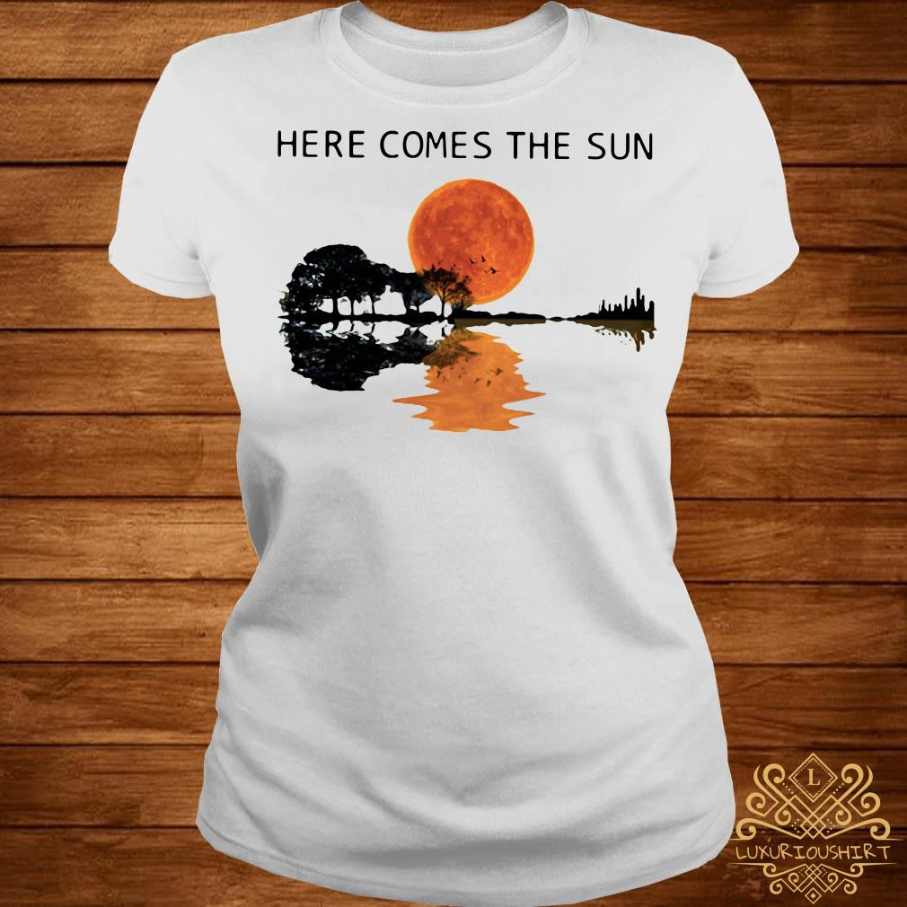 Sunset Guitar lake Here comes the sun ladies tee