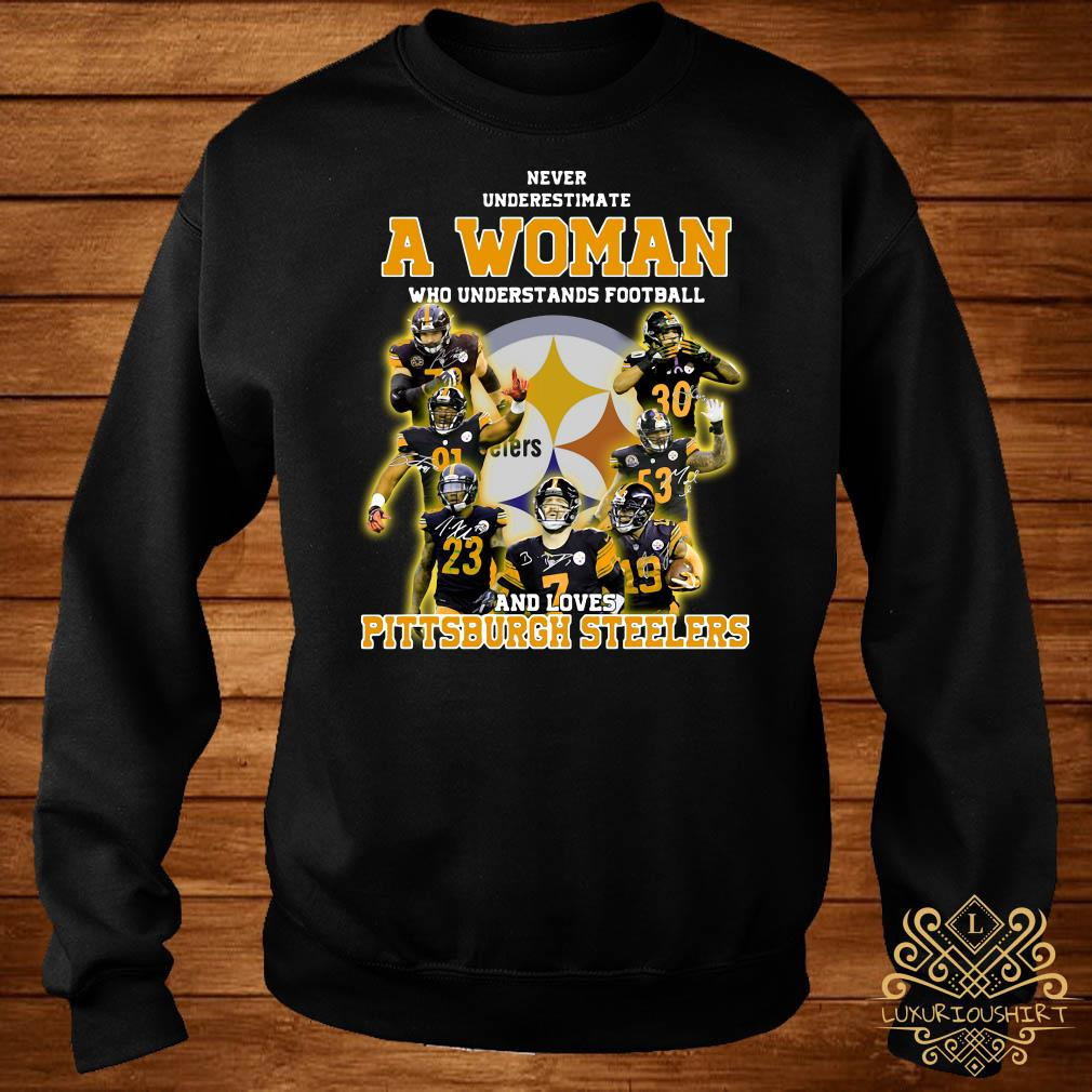 official photos 63ed1 18f77 Never underestimate a woman who understands football and loves Pittsburgh  Steelers shirt