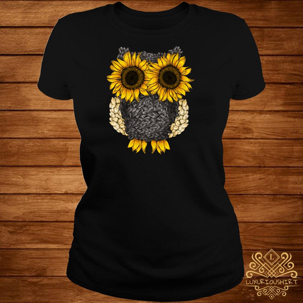 Owl by sunflower and seed ladies tee