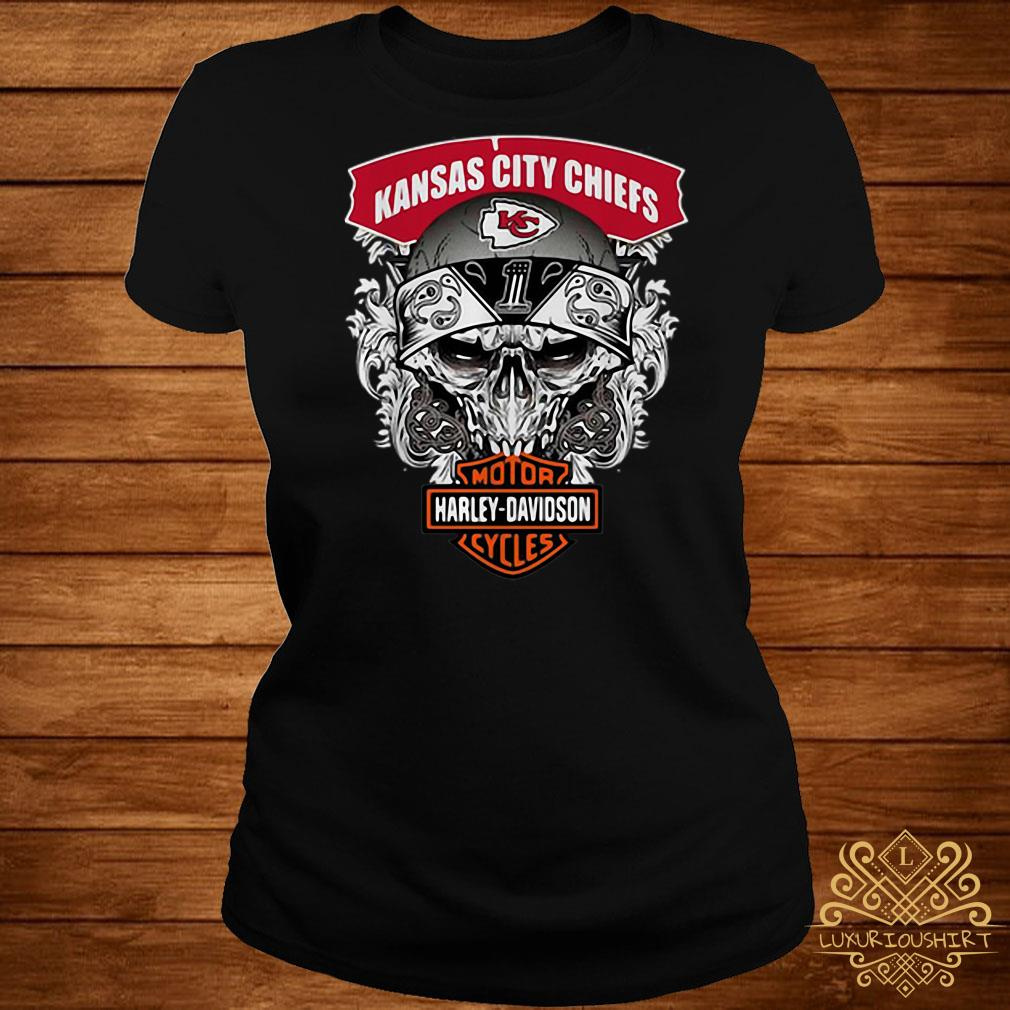 Skull Kansas City Chiefs Harley-Davidson motorcycles ladies tee