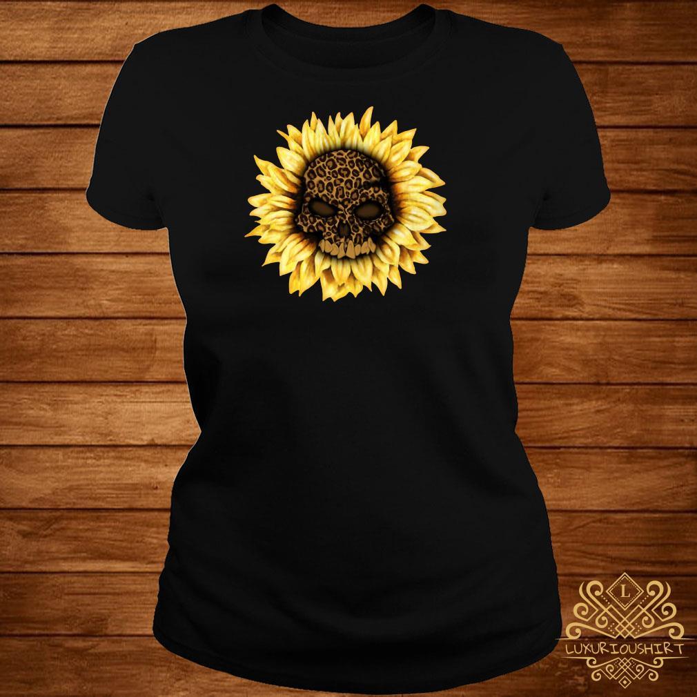 Skull Leopard sunflower ladies tee