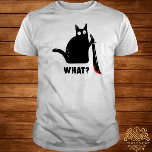 Black cat murderous holding knife Halloween shirt