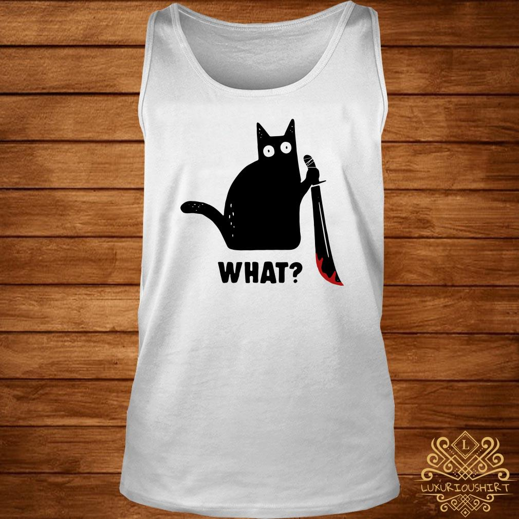 Black cat murderous holding knife Halloween tank-top