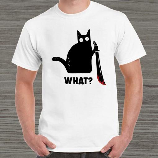Black cat murderous holding knife Halloween unisex