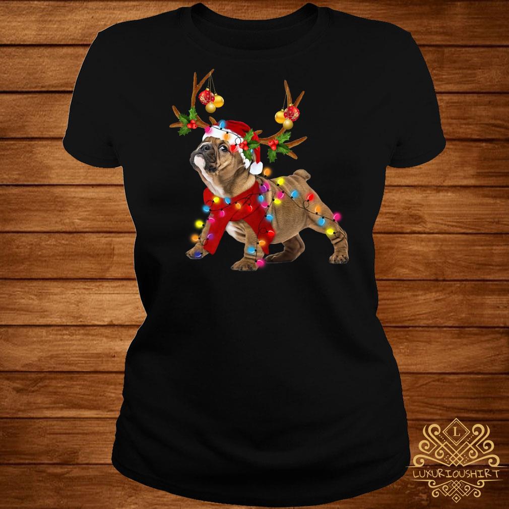 Bulldog Gorgeous Reindeer Light Christmas Ladies Tee