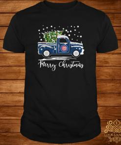 Chicago Cubs Pickup Truck Merry Christmas Shirt