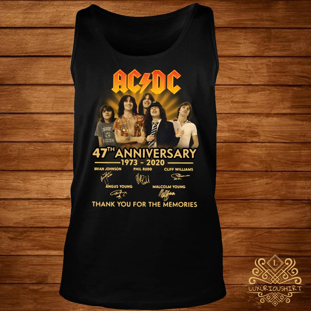 ACDC 47th Anniversary 1973-2020 Thank You For The Memories Tank Top