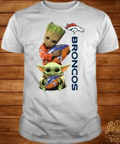 Baby Groot And Baby Yoda Hug Broncos Shirt
