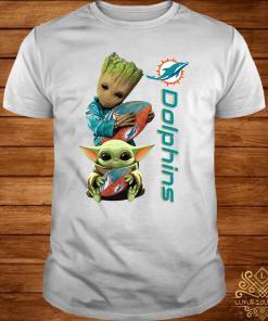 Baby Groot And Baby Yoda Hug Miami Dolphins Shirt