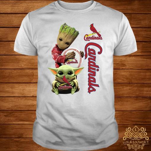 Baby Groot And Baby Yoda Hug St. Louis Cardinals Shirt