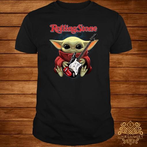 Baby Yoda Hug Rolling Stone Guitar Shirt