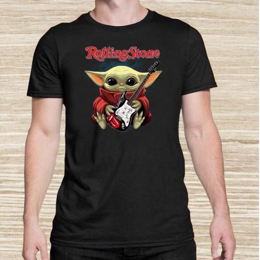 Baby Yoda Hug Rolling Stone Guitar Unisex