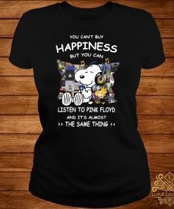 Snoopy And Woodstock You Can't Buy Happiness But You Can Listen To Pink Floyd Ladies Tee