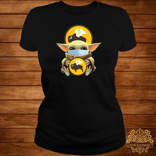 Baby Yoda Mask Hug Buffalo Wild Wings Ladies Tee