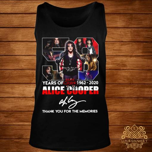 58 Years Of 1962 2020 Alice Cooper Thank You For The Memories Shirt tank-top