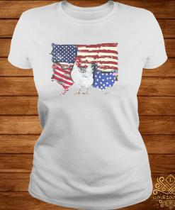 Chicken Flag USA American Flag Veteran Shirt ladies-tee